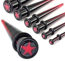 E#31 - 12pc Red Star Tapers 00g,0g,2g,4g,6g,8g Expanders Wholesale Body Jewelry