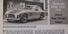 1959 Allard Grand Turismo Coupe Original Autocar magazine Road test