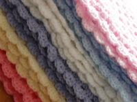 Hand Crochet Small Blanket/Shawl/Throw NEWBORN BABY VARIOUS Girls or Boy Colours