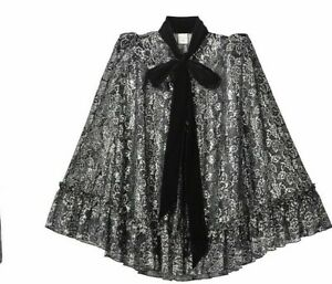 H & M VAMPIRE'S WIFE Silver Black Lace Sheer Cape w/ Velvet Pussy Bow New XS S