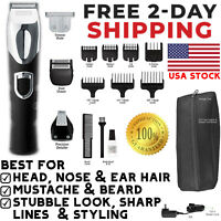 Wahl Rechargeable Beard Mustache Trimmer Ear Nose Hair Clipper Electric Shaver