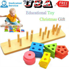Wooden Educational Preschool Toddler Toys For 1 2 3 4 5 Year Old Boys Girls US
