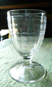 Hazel Atlas Block Glass Goblet  Clear  Vintage 1930s HA mark