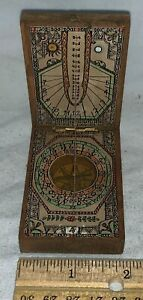 ANTIQUE DIPTYCH POCKET COMPASS SUNDIAL FOLDING WOOD PAPER BRASS HINGE MARITIME