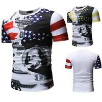 Men's slim fit tops t shirts t shirt short sleeve summer muscle tee blouse