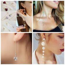 Fashion Womens Long Dangle Drop Chain Flower Threader Earrings Ear Stud Jewelry