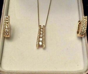 4.00 Ct Round Cut D/VVS1 Diamond Pendant & Earrings Set 14k Yellow Gold Over