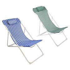 Metal Garden Deckchair Folding Adjustable Reclining, Blue / Green Stripe - x2
