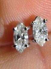 Sparkling! Unique .30CTW Natural Marquis Diamond Earring Studs 14K White Gold