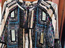 Democracy multi-color bold mod print Boho Peasant 3/4 Sleeve Blouse SZ S