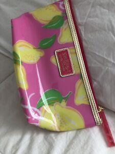 Lilly Pulitzer Estee Lauder Plastic Cosmetic Makeup Clutch Bag Pink Yellow Lemon