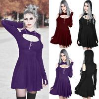 Plus Size Fashion Womens Gothic Hooded Long Sleeve Casual Punk Mini Dress S-5XL