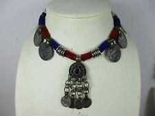 Original altes Collier Halskette echte Münzen & Glas Nomaden-Schmuck Tibet ~1960