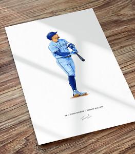 George Springer Home Run Toronto Blue Jays Baseball Illustrated Print Poster Art