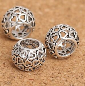 Openwork HEART rondelle spacer- Solid 925 sterling silver European charm bead