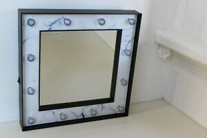 Large Marquee Mirror Light Up Marble Framed Mirror Battery Operated 30cm x 30cm