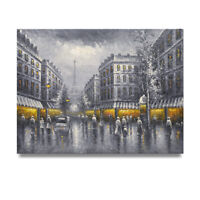 NY Art - Black & Yellow Paris in the Rain 36x48 Original Oil Painting on Canvas!