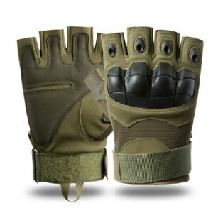 Tactical Outdoor Army Military Motorcycle Hunt Hard Knuckle Half Finger Gloves