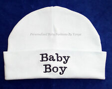 "L@@K! DARLING CUSTOM MONOGRAM SPECIALTY ""BABY BOY""  BEANIE BABY HAT - 0-3 MOS"
