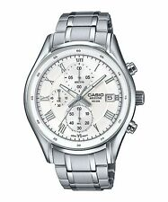 BEM-512D-7A White Casio Men's Watches Stainless Band Chronograph Beside New