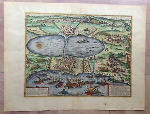 TUNIS (TUNISIA) 1572 BRAUN HOGENBERG 16e CENTURY LARGE NICE ENGRAVED VIEW