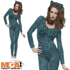 Leopard Print Bodysuit Womens Leotard Fancy Dress Ladies Animal Adults Costume