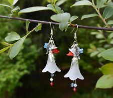Boucles d'oreilles drapeau française Marianne bijoux rouge blanc et bleu fleurs