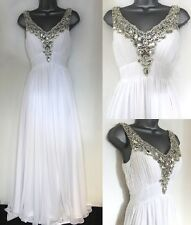 Scarlett Jewel Embellished White Evening Occasion Prom Maxi Dress Size 6/8