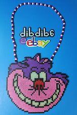 Cheshire Cat kandi perler necklace, rave, EDC, PLUR, GITD  Alice in Wonderland