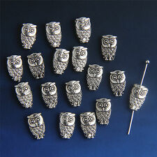 Free 20Pcs Tibetan Silver Owl Bracelet Spacer Bead Findings Hole 1.2mm Bead311
