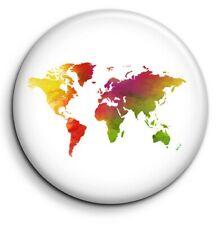 Badge Epingle 38mm Button Pin Monde Terre World Mappemonde Carte Map pays