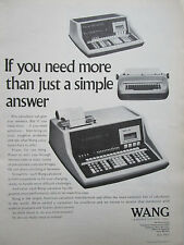 2/1972 PUB WANG LABORATORIES TEWKSBURY CALCULATOR ORIGINAL AD