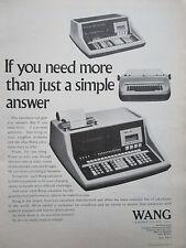 2/1972 PUB WANG LABORATORIES TEWKSBURY CALCULATOR ORIGINAL AD