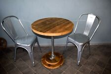 Urban Industrial Bistro Table, Reclaimed Scaffold Board and Galvanised Steel
