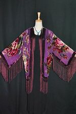 Art to Purple Flower Burnout Velvet Fringe Kimono Opera Coat Duster Jacket short
