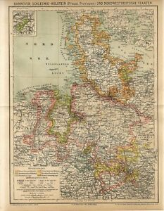 1882 GERMANY HANNOVER SCHLESWIG-HOLSTEIN PRUSSIA NORTH GERMAN STATES Antique Map