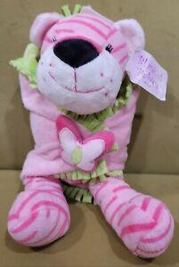 "Fiesta Blanket Babies 11"" Pink Tiger Plush Toy Pink Butterfly Stuffed Lovey"