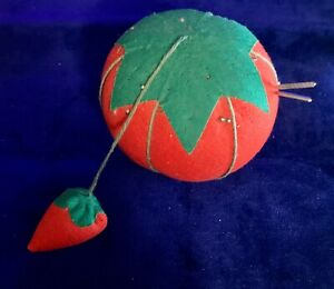 Vintage Tomato Red Pin Cushion w/Strawberry Attached Large Nice