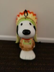 Vintage Peanuts Snoopy Native American Indian Chief Ceramic Christmas Ornament