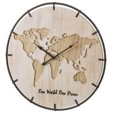 Orologio Da Parete Disegno Mappamondo Legno MDF e Ferro Forma Rotonda 53 cm