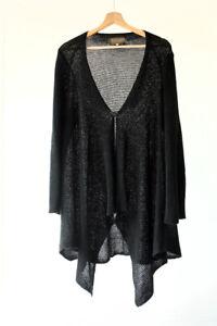 Zuza Bart 100% Linen Lagenlook Boho Black Crochet Cardigan Tunic Waterfall XL