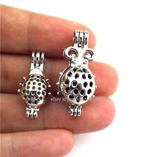 21669 2pcs/set  Silver  Insect Ladybug Bead Bead Pearl Cage Locket - Bulk Sale
