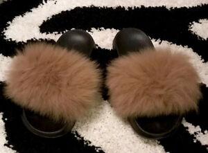 REAL FUR TAN/BEIGE Black SLIP ONS Slides Flip Flops SOFT FUR Slippers Euro 40-41