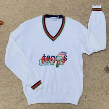 La Mode Du tennis Vintage Tennis Sweater Large White Red Green Vee Neck