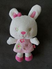 Doudou KMB kimbaloo la halle lapin blanc robe rose fleurs yeux verts noeud