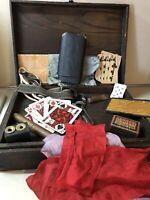 Vintage Children's Box of Magic Tricks, Pranks, Slight Of Hand Home Made Unique