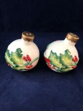 Fitz and Floyd Noel Classique Salt and Pepper Shakers. IOB. Used- V.G.Condition