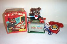 1950s V.I.P. THE BUSY BOSS TELEPHONE BEAR BATTERY OPERATED TIN LITHO TOY JAPAN