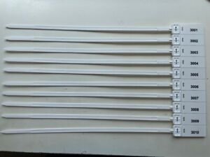 White Plastic Security Tags Numbered Pull Ties Secure Anti-Tamper Seals
