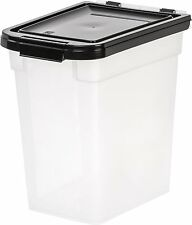 IRIS Airtight Pet Food Container, Dog Treat Storage, 10-Pound, Clear/Black NEW